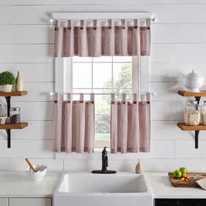Tucker Ticking Stripe Button Tab Top Window Tier and Valance