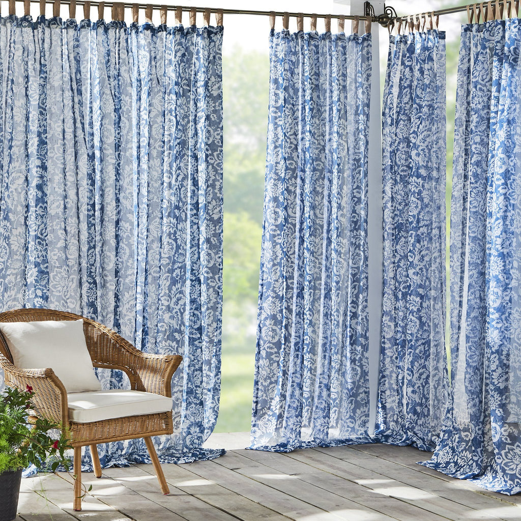 Verena Floral Indoor/Outdoor Sheer Tab Top Window Curtain Panel