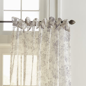 Westport Floral Tie-Top Sheer Window Curtain
