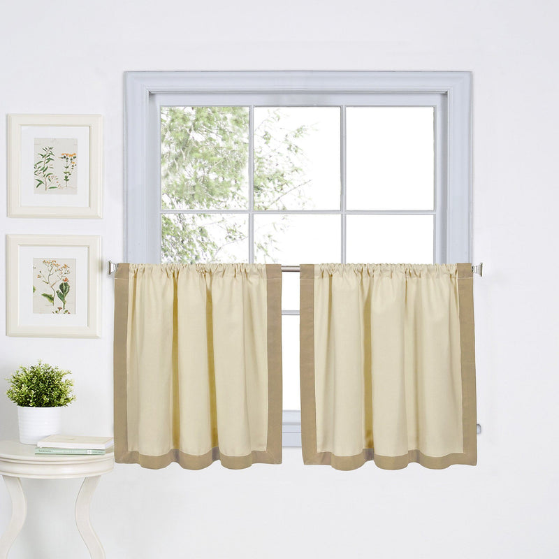Wilton Mitered Border Rod Pocket Window Tiers (Set of 2) and Valance (Sold Separately)
