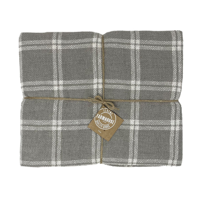 Farmhouse Living Double Window Pane Plaid Fringe Blanket Throws