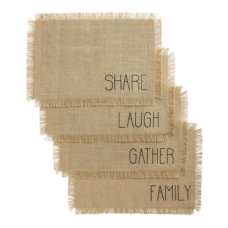 Farmhouse Living Sentiments Burlap Placemats, Set of 4
