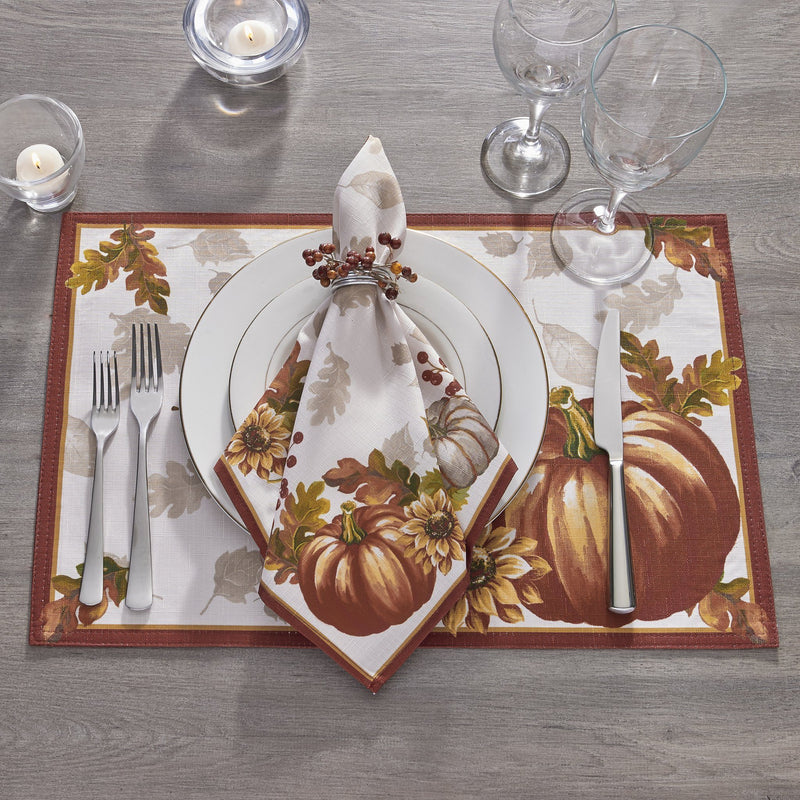Swaying Leaves Bordered Fall Napkins, Set of 8