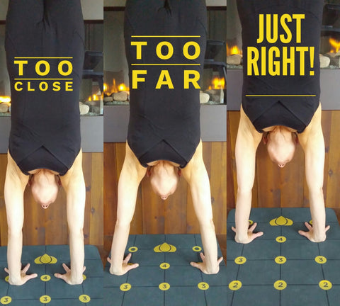 "Hands should be placed ""shoulder width"" apart for Handstand. Your ""shoulder width"" may be different."