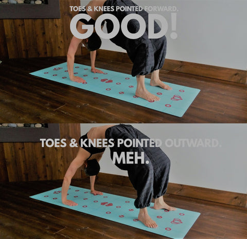 "In Wheel (or Bow), toes and knees should be pointed forward, not out to the sides. And...feet and knees should be ""hip width"" apart."