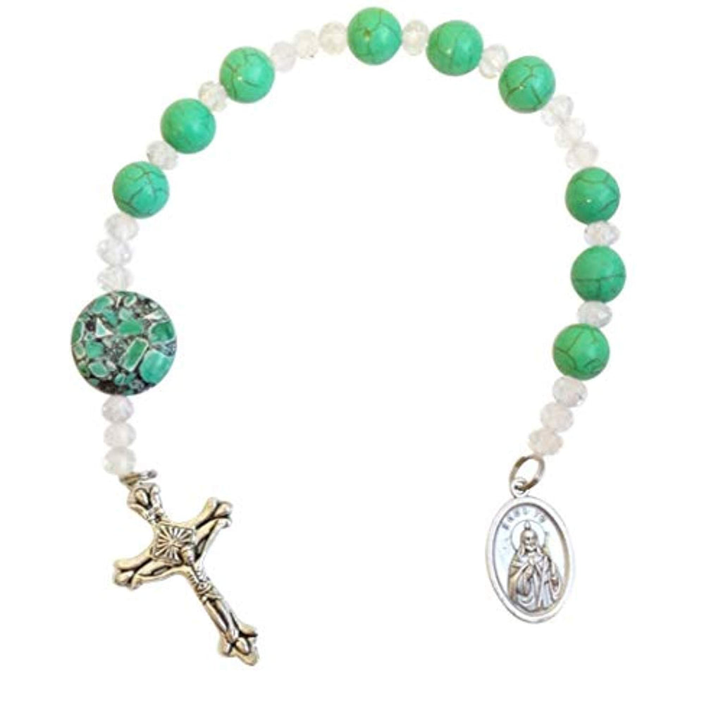 Saint Jude Patron of Impossible Situations Green Jade Chaplet with Silver Plated Findings and Blessed Prayer Card