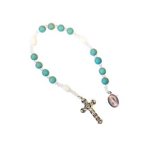 Gifts by Lulee, LLC The Chaplet of The Immaculate Conception Marbled Turquoise and Silky Glass White Beads Chaplet Silver Plated Crucifix and Medal