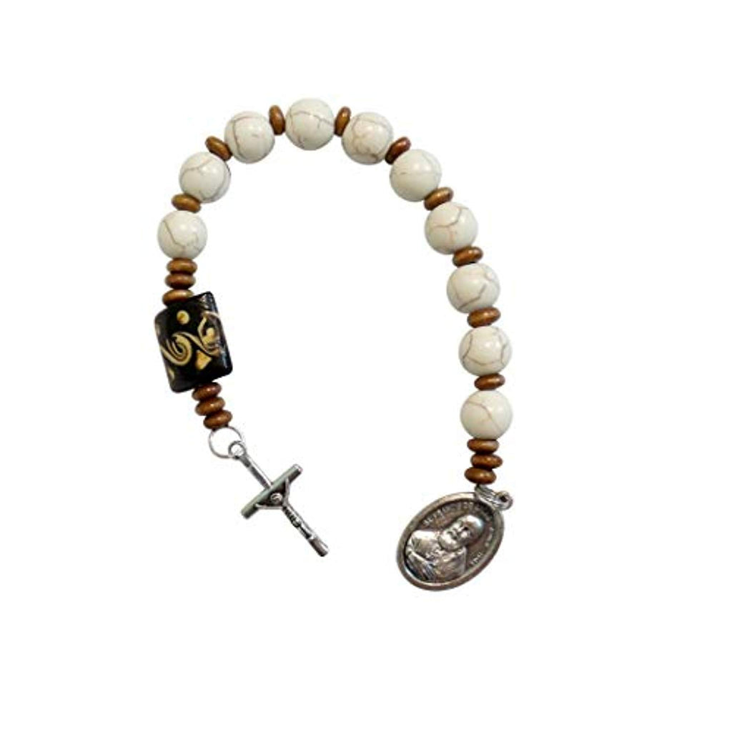 Saint Francis De Sales Patron of Those with Hearing Problems White Magnesite Round Beads Chaplet Silver Plated Crucifix and Medal Large Carved Wood Square Pater Noster Includes Blessed Prayer Card