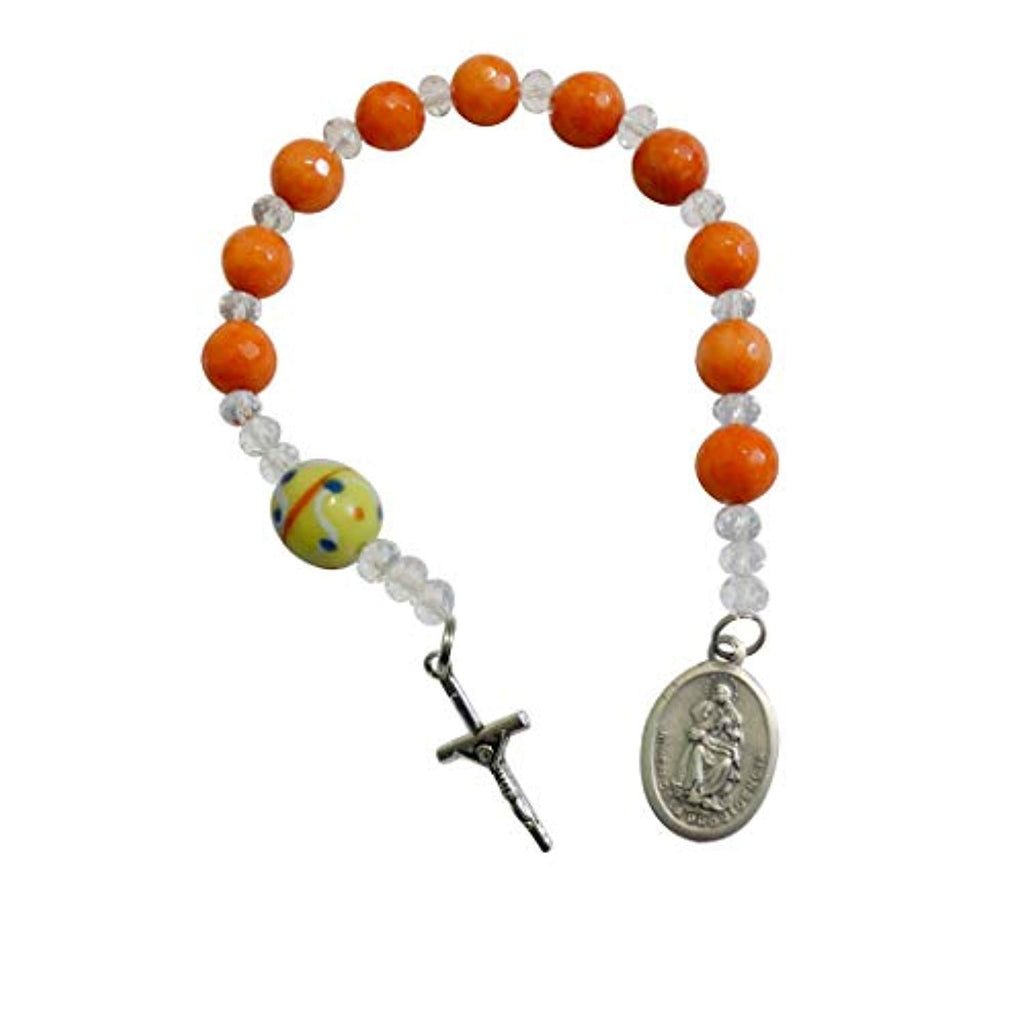 Our Lady of Divine Providence Matte Carnelian Faceted Beads Chaplet Pocket Rosary with Large Round Millefiori Glass Pater Noster Silver Plated Crucifix and Medal Includes Blessed Prayer Card