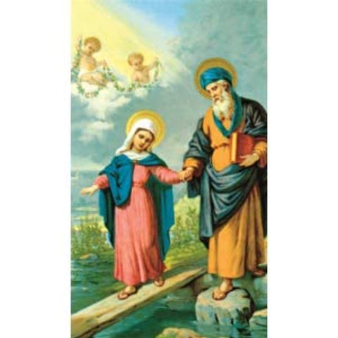 Saint Joachim Father of Mary and Grandfather to Jesus Blessed Laminated Italian Holy card with Gold Accents