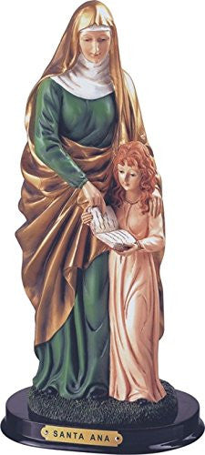 "Saint Ann Anne Mother of Mary Grandmother to Jesus 12"" Statue with Wood Base Includes Blessed Prayer Card"