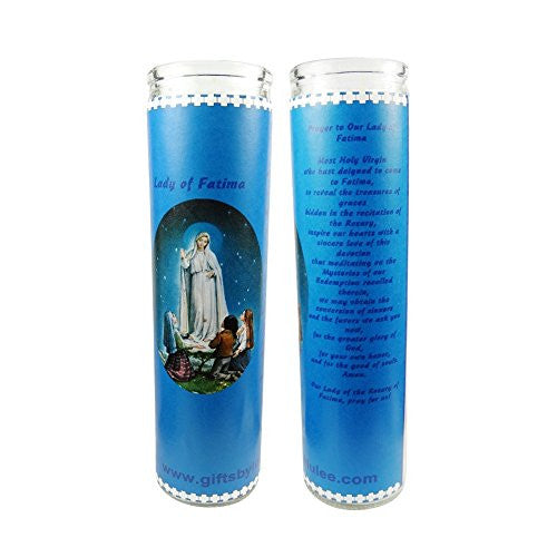 Our Lady of Fatima Our Lady of The Holy Rosary Set of 2 Candles