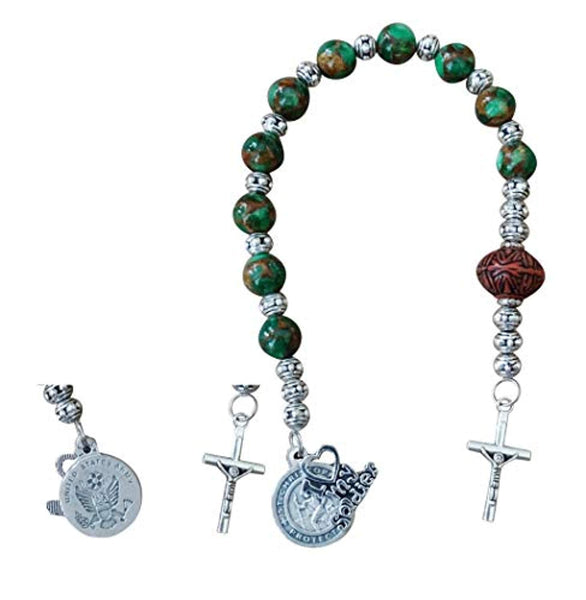 Army Military Chaplet in Honor of The Men and Women Serving Includes a Blessed Prayer Card