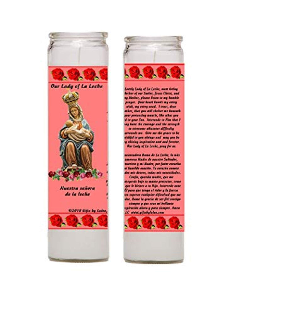 Our Lady of La Leche Set of Two or Four Glass Candles with Prayer in The Back (Two)
