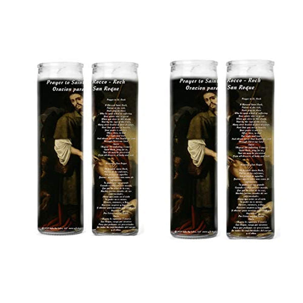 Prayer to Saint Roch or Rocco for Protection Against Corona Virus Pandemic Set of Two or Four Glass Candles