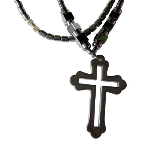 Healing Hematite Necklace with Solid Cross Pendant and Cutout Cross in the Center