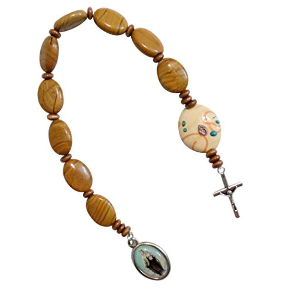 Our Lady of Mount Carmel Patron of The Carmelites Round Tigereye Beads Chaplet or Pocket Rosary Large Disc Millefiori Glass Pater Noster Silver Plated Crucifix and Medal Includes Blessed Prayer Card