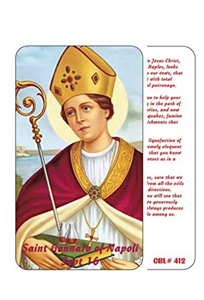 Saint Gennaro Januarius of Napoli Patron of Those with Blood Clots and Blood Disorders Laminated Prayer Card Imported from Italy and Blessed by His Holiness During Mass