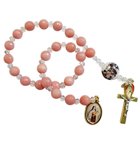Saint Therese of The Little Flower Cherry Quartz Round Beads Chaplet with Large Round Glass Millefiori Pater Noster Gold Plated Cross of Life Crucifix and Medal Includes Blessed Prayer Card