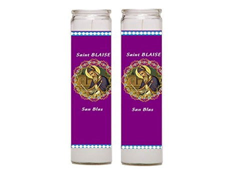 Saint Blaise Patron of Those with Throat Ailments Set of 2 Prayer Candles with Prayer in Back