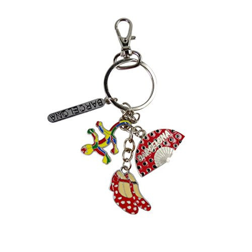Barcelona Andalusia Murcia Three Regions One Key Chain Key Ring and Zipper Pull Cold Rolled Steel Porcelain Enamel Art and Lobster Swivel Clasp