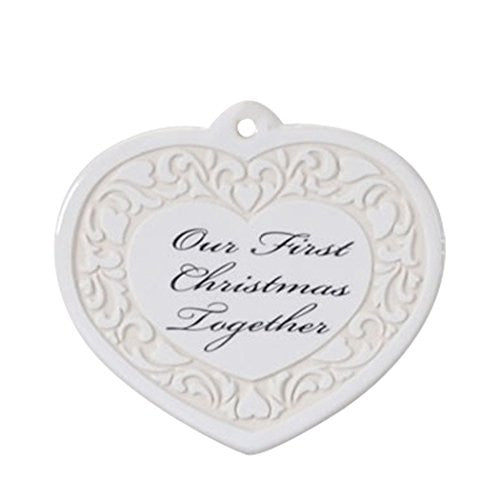 Our First 1st Christmas Together   Wedding Heart Shaped Ornament