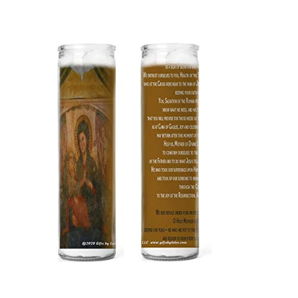 Pope Francis Prayer to Our Lady of Divine Love for Protection Against Corona Virus Pandemic Set of Two or Four Glass Candles
