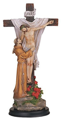 "The Descent from the Cross El Descendimiento Saint Francis and The Christ 12"" Statue with Wood Base with Blessed Prayer Card"
