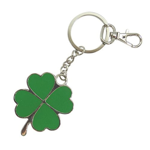 Good Luck Porcelain Enamel Green Clover Keychain Keyring Zipper Pull with Lobster Clasp