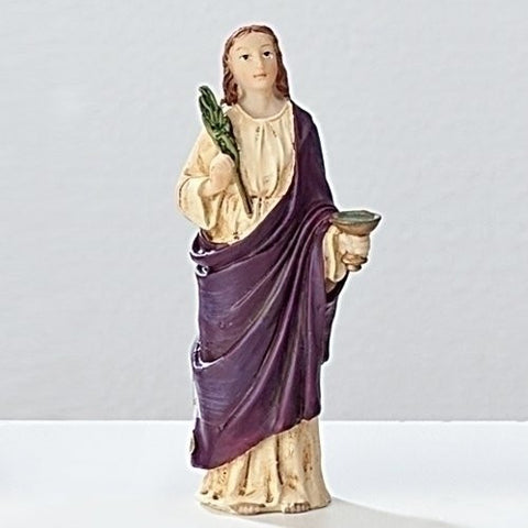 "Saint Lucy Patron Saint of the Blind 4"" Statue with Prayer Card Blessed by His Holiness"