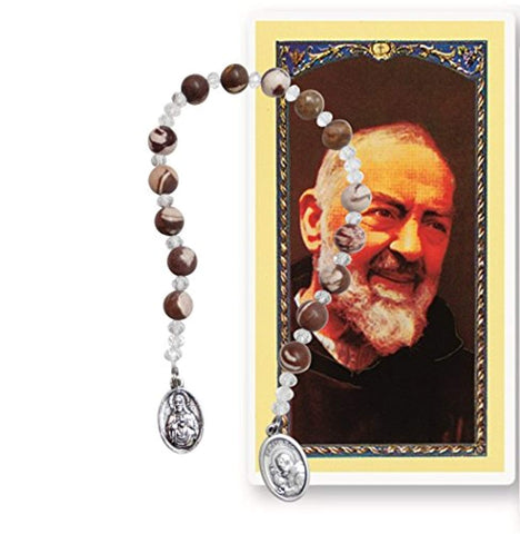 Saint Pio of Pietrelcina Padre Pio Marble Brown Beads Chaplet