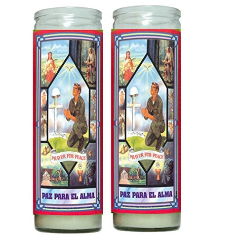 Oracion Para La Paz Prayer for Peace Set de 2 Veladoras con Oracion Set of 2 Candles with Prayer English or Spanish Available
