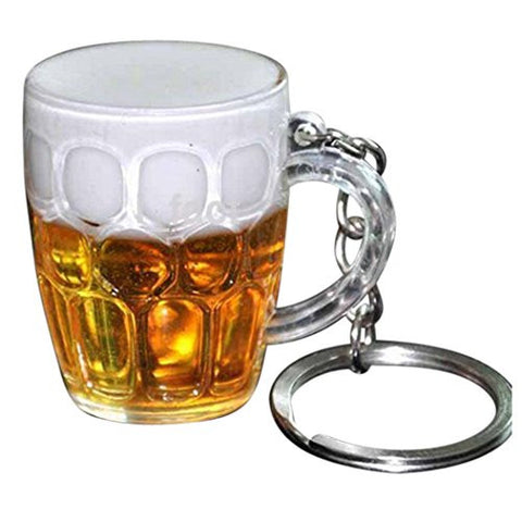 Cold Beer or Bust Polycarbonate Beer Mug Keychain Keyring Zipper Pull with Lobster Clasp