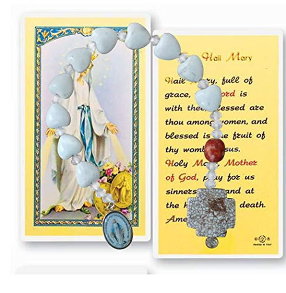 Our Lady of Grace Miraculous Medal One Decade Rosary Heart Shaped Howlite and Gold Plated Blessed Color Medal