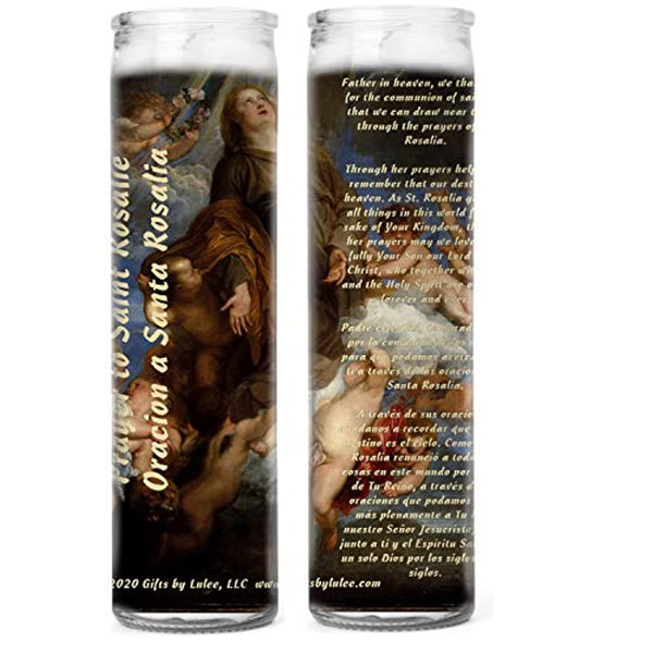Prayer to Saint Rosalia La Santuzza Rusulia Patron of Palermo Italy for Protection Against Corona Virus Pandemic Set of Two or Four Glass Candles