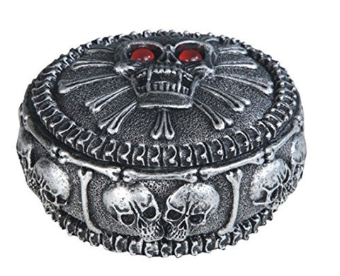 Santa Muerte Ornate Skull Cross Trinket Box Red Glass Glowing Eye Sockets