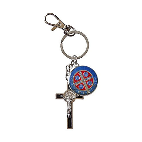 Saint Benedict Style Keychain Zipper Pull Silver Plated over Anodized Base Porcelain Enamel Detail Four Colors Available Includes Blessed Prayer Card