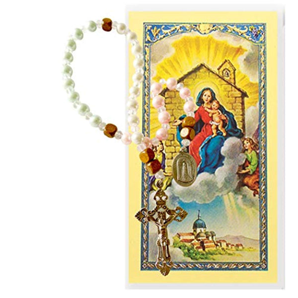 Our Lady of Loretto Special Favor Chaplet to Obtain a Home Swarovski Crystal Pearls in Rose Blue and Ivory Sets are Separated by Cube Wood Beads Silver Plated Crucifix and Medal Blessed Prayer Card