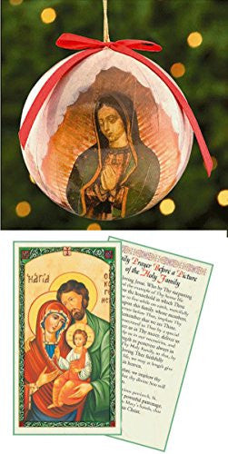 Our Lady of Guadalupe Decoupage Christmas Tree Ornament Free Laminated Card of the Holy Family