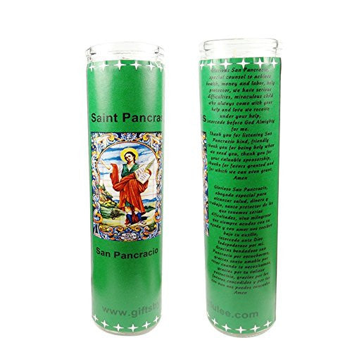 San Pancracio Saint Pancras Patron de los Empleos Patron of Jobs Set of 2 Candles