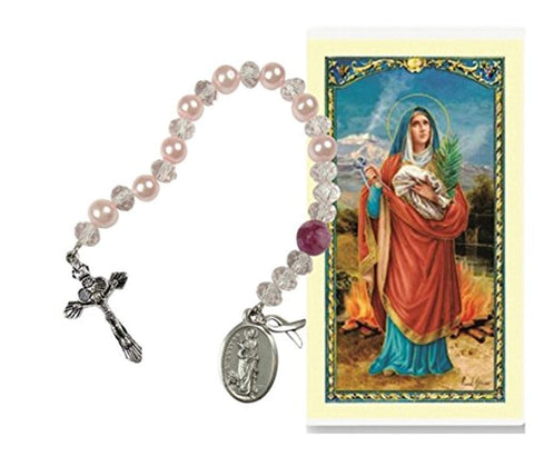 Gifts by Lulee, LLC Saint Agatha Crystal Chaplet Patroness of Those Afflicted with Breast Cancer Crystal Beads and Silver Plated Findings Includes a Free Breast Cancer Bandana and Blessed Prayer Card