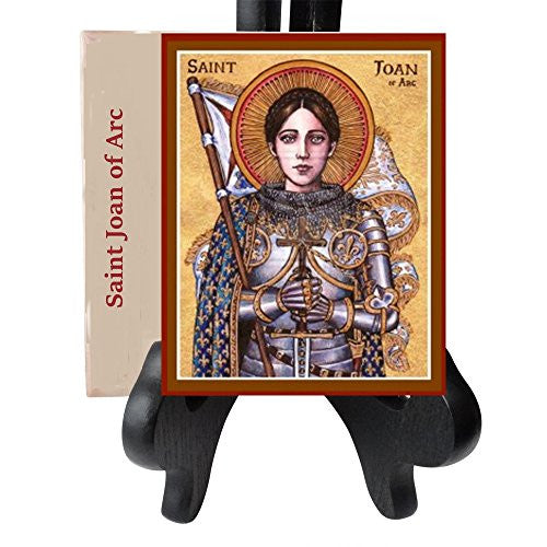 Saint Joan of Arc Maid of Orleans Patron Saint of Soldiers and France Porcelain Tile Plaque Ready for Hanging Three Sizes Available (4 x 4)