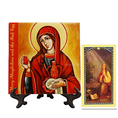 Mary Magdalene and The Red Egg Patroness of Women Porcelain Tile Plaque Easel Included and a Blessed Prayer Card