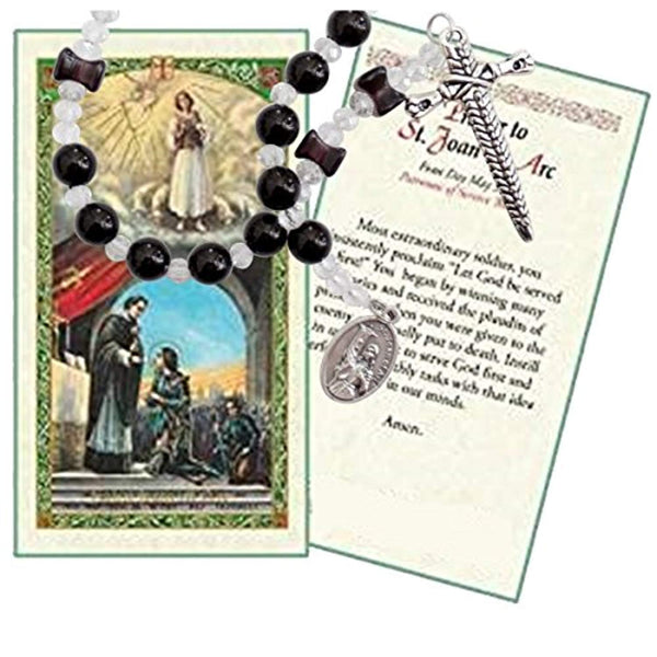 Joan of Arc The Maiden of Orleans Patron of France Onyx Round and Hourglass Black Beads Chaplet with Silver Plated Findings and Blessed Prayer Card