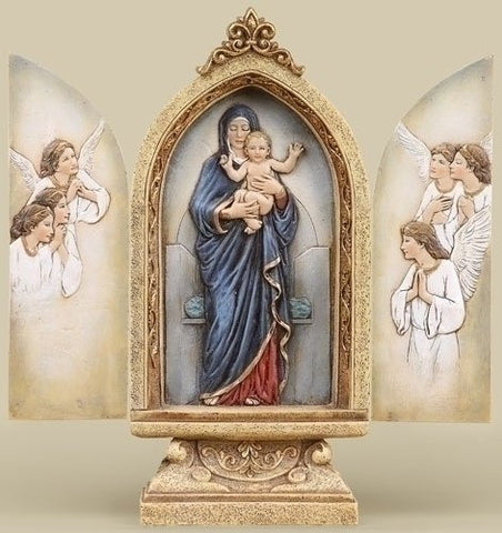 Madonna and Angels Triptych 10 Inches Altar with a Free Madonna Holy Card Blessed By Pope Francis