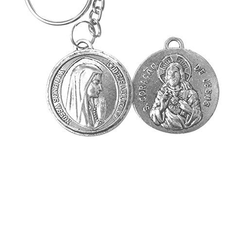 Our Lady of Fatima and The Sacred Heart of Jesus Anodized Silver Plated Medal Keychain Zipper Pull Includes Blessed Prayer Card