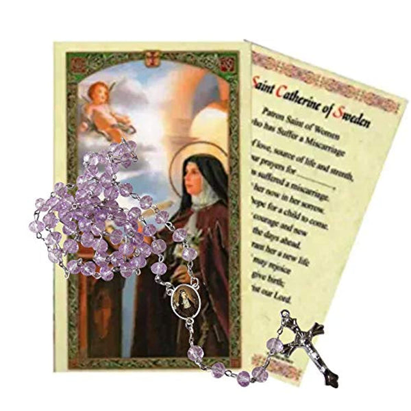 Saint Catherine of Sweden Protector Against Abortion and Miscarriage Lavender Aura Quartz Crystal Beaded Rosary with Silver Plated Medal Centerpiece and Crucifix Includes a Prayer Card