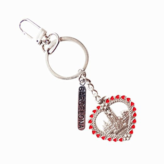 Heart Shaped Sagrada Familia Souvenir Keychain Zipper Pull Porcelain Enamel Glass Detail and Silver Oxidized Keychain