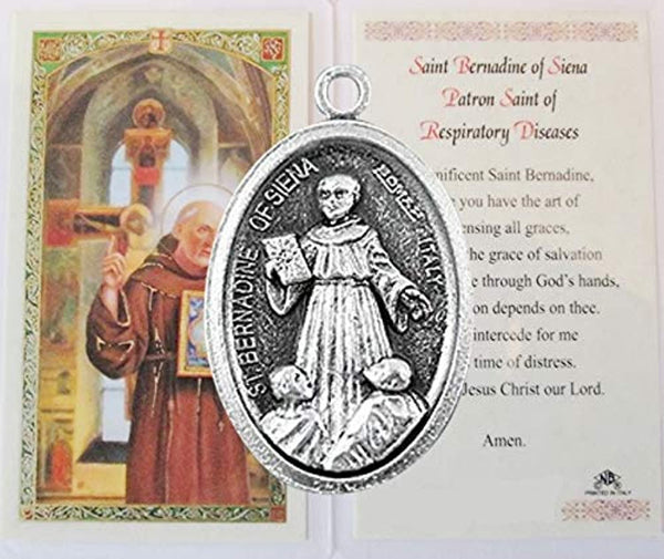 Saint Barnardine Bernadine of Siena Patron of Those with Respiratory Disease Silver Oxidized Medal and Blessed Prayer Card