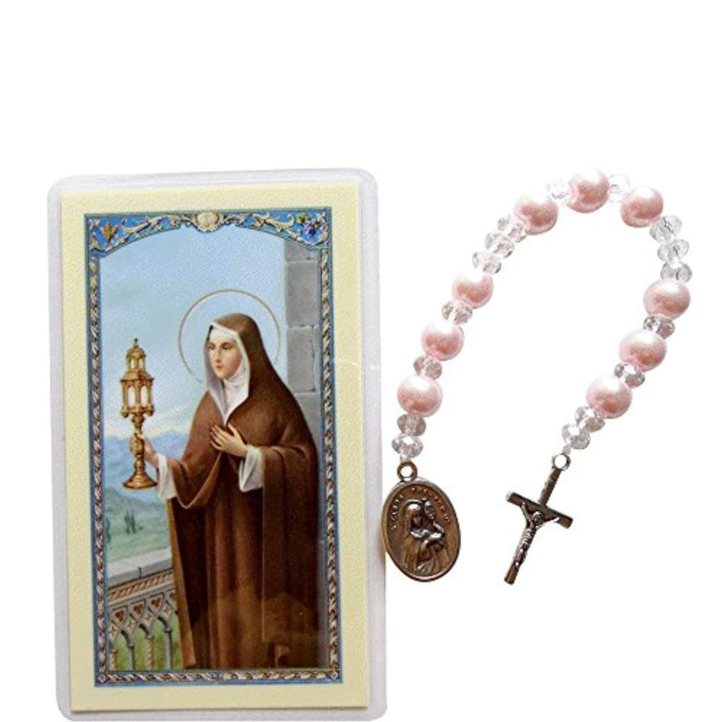 Saint Clare of Assisi Majorca Pearls, Glass Beads and Silver Plated Findings Chaplet Blessed Prayer Card Included
